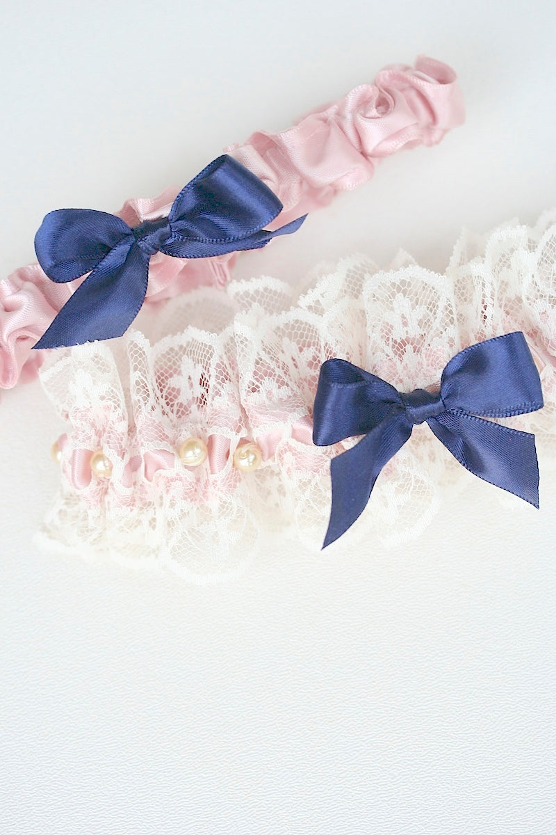 blush and navy custom wedding garter set
