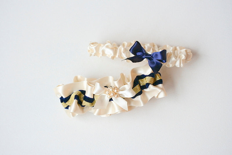 personalized wedding garter set with navy blue and gold