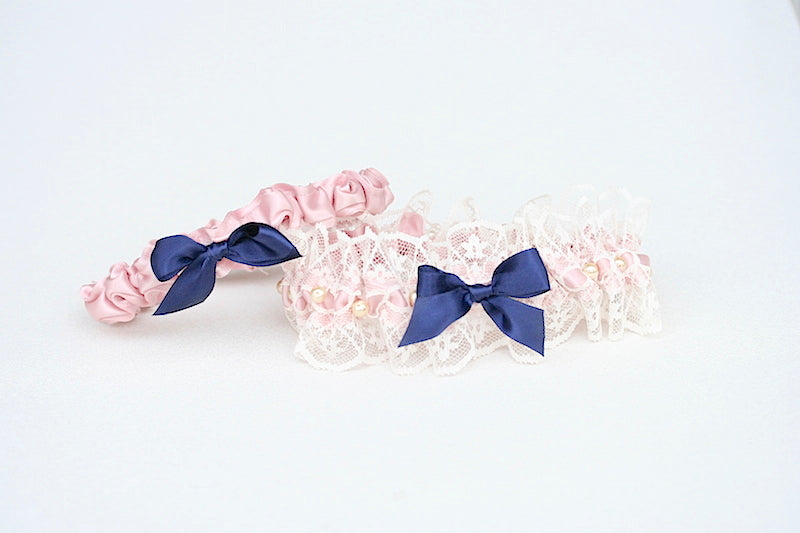 lace and blush custom wedding garter set