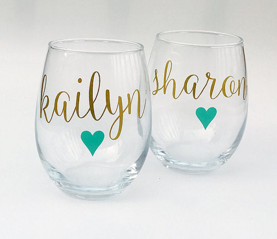 custom wine glasses for bridesmaid gift