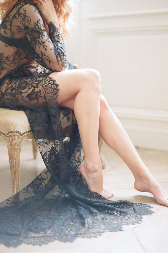dramatic black lace robe on bride