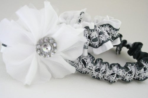 Embellished Gray and White Lace Wedding Garter Set