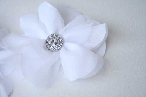 Embellished White Flower Made To Match Custom Wedding Garter