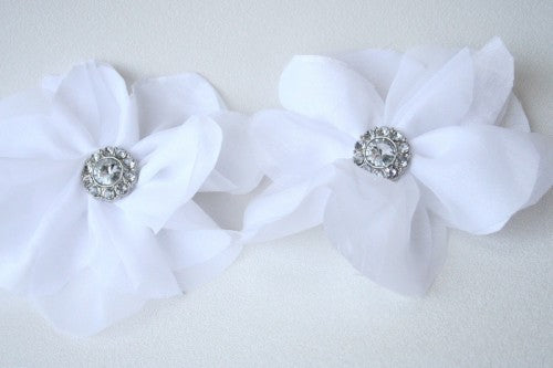 Embellished White Flower Hair Pin and Purse Clip
