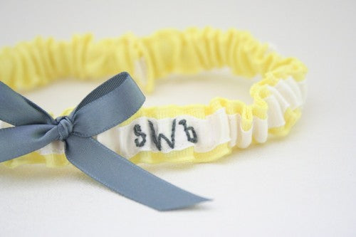 Chic Hand-Embroidered Yellow and Gray Wedding Garter