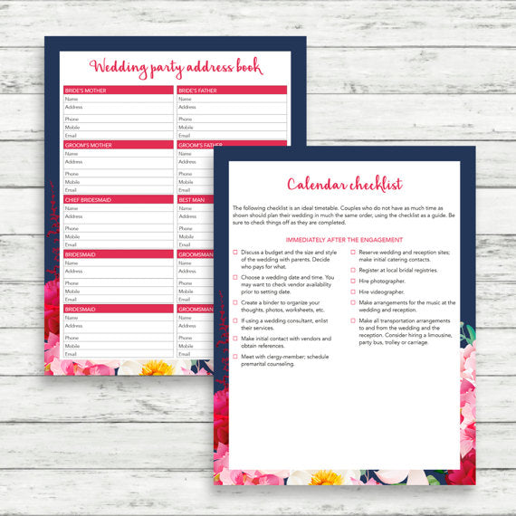 floral printable wedding planning pages