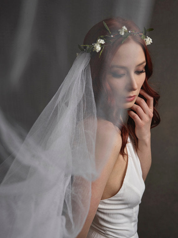 flower crown veil on bride