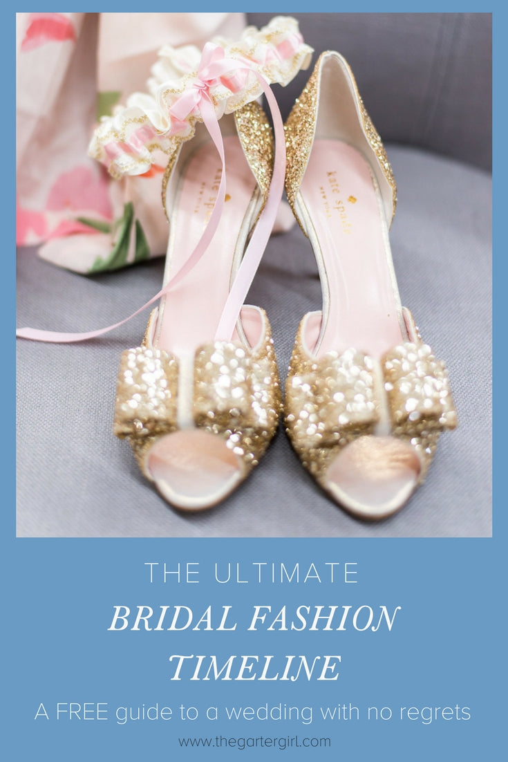gold glitter wedding shoes and a gold and blue wedding garter