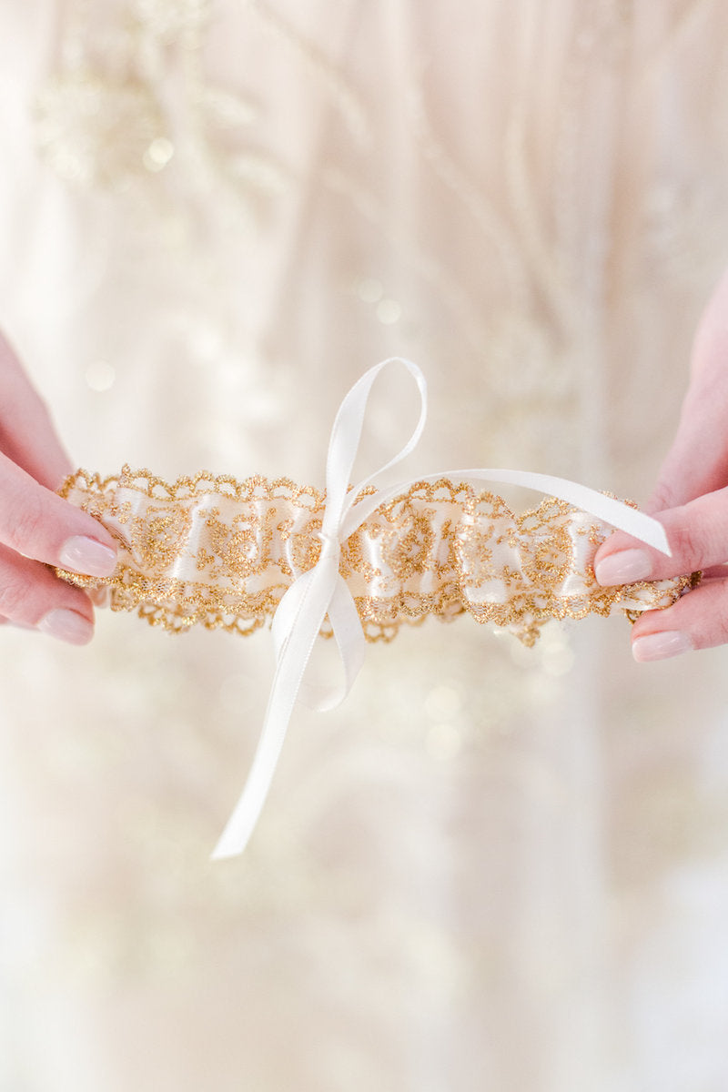 gold lace bridal garter