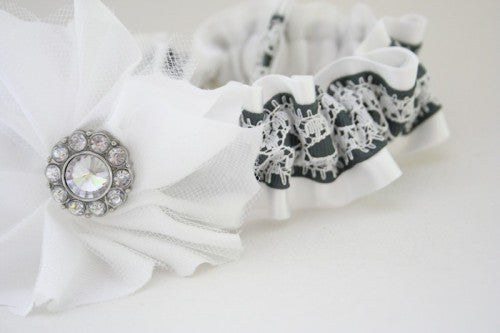Gorgeous Gray and White Lace Embellished Wedding Garter