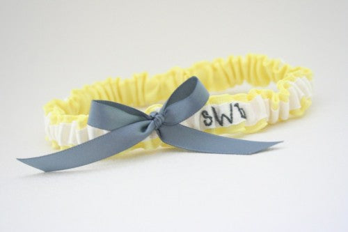 Gorgeous Yellow Wedding Garter with White and Gray Details