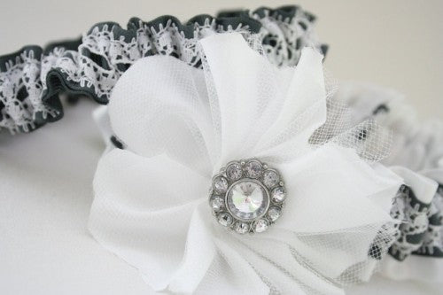 Gray and White Lace Embellished Custom Wedding Garter Set