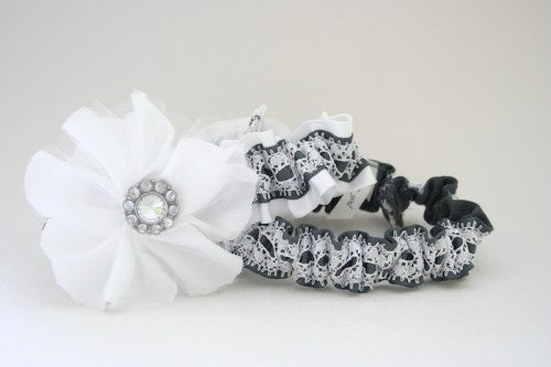 White and Gray Lace Wedding Garter Set
