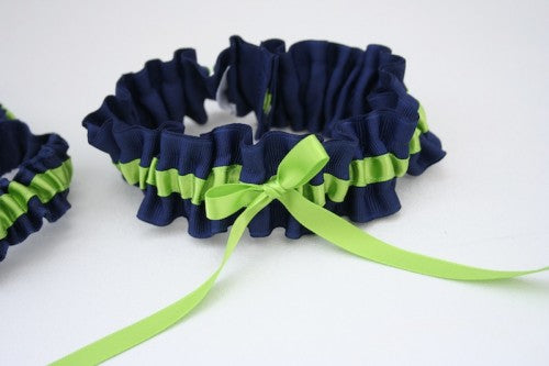 green-navy-wedding-garter-The-Garter-Girl