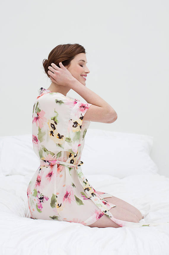 soft floral silk robe for bride