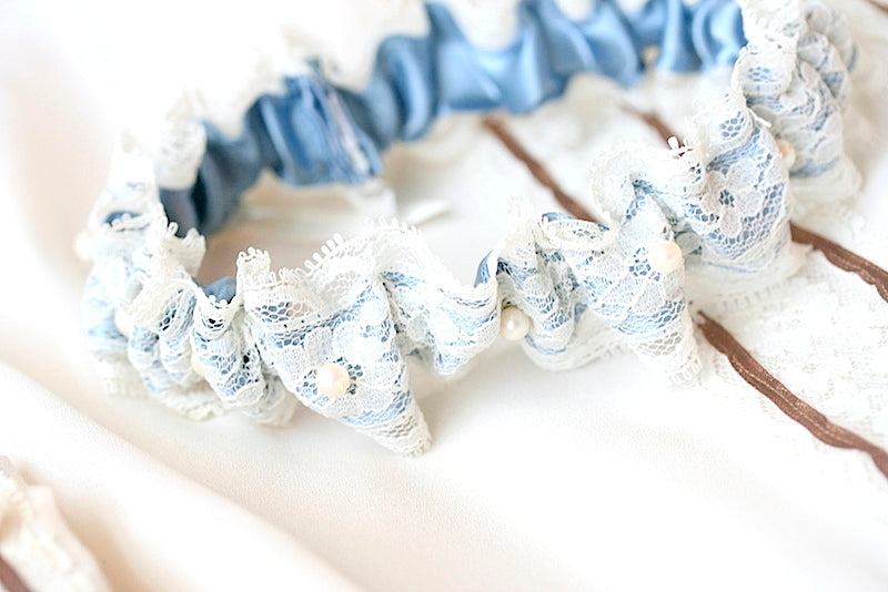 lace, pearl and blue wedding garter made from vintage wedding dress