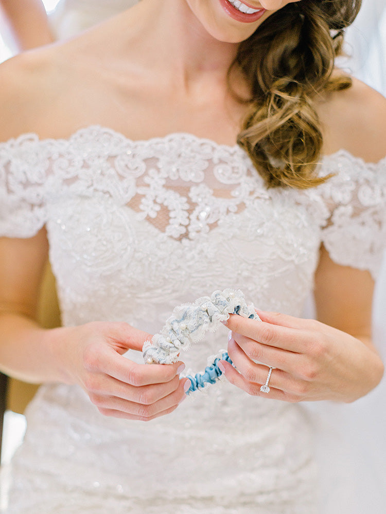 lace wedding garter made from grandmother wedding dress