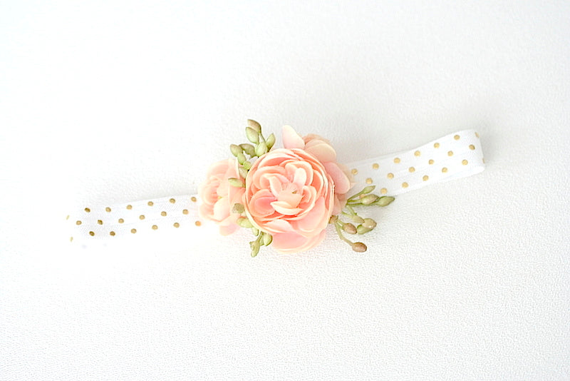 gold polka dot and flower wedding garter