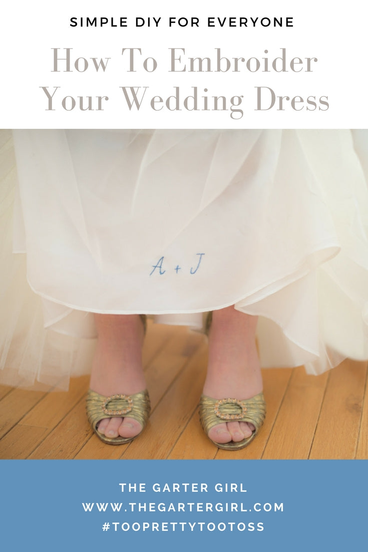 how to sew wedding date inside wedding dress - bride in gold shoes with wedding dress