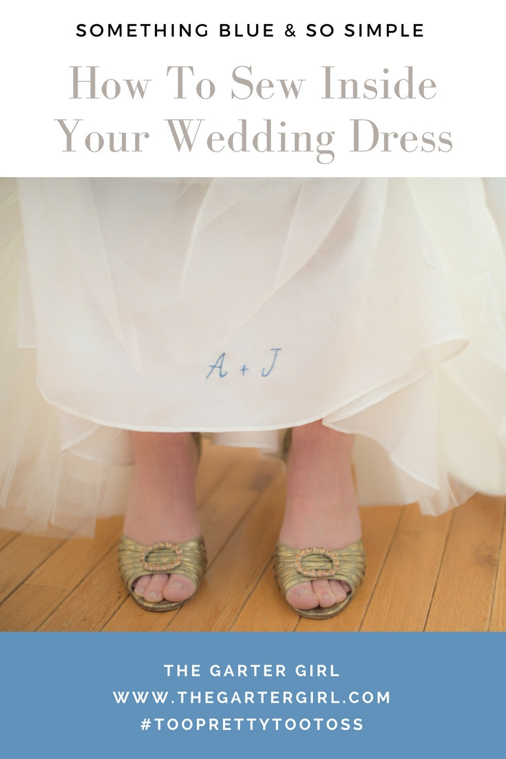 how to sew wedding date inside wedding dress - gold bridal shoes