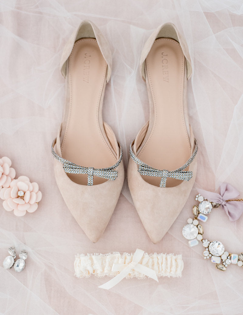 blush wedding shoes and ivory lace garter - use pinterest to plan your wedding