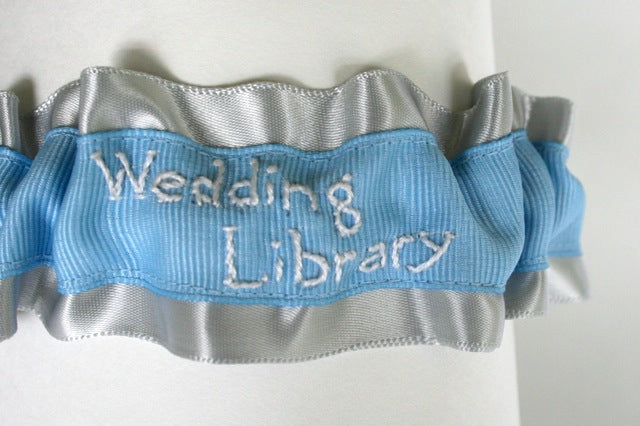 hand embroidered wedding library custom wedding garter