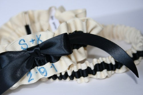 ivory-and-black-garter-with-wedding-date