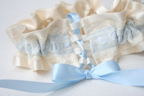 Ivory and Blue Custom Garter with Corset Closure