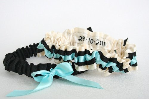 Ivory Aqua and Black Hand-Embroidered Wedding Garter Set