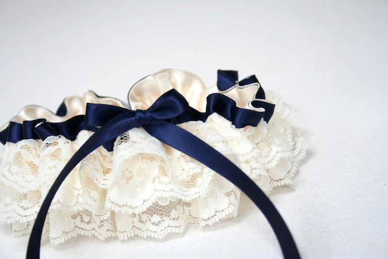 ivory lace ruffle custom wedding garter with navy blue