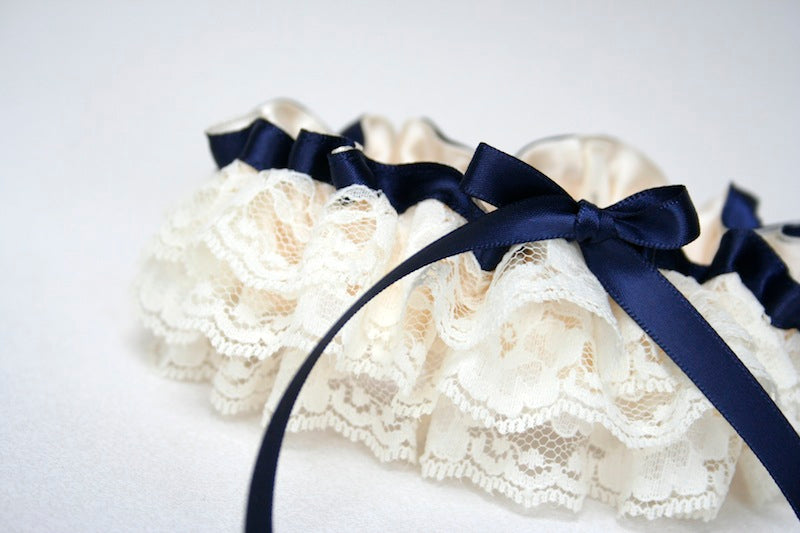 ivory lace ruffled with navy blue custom wedding garter