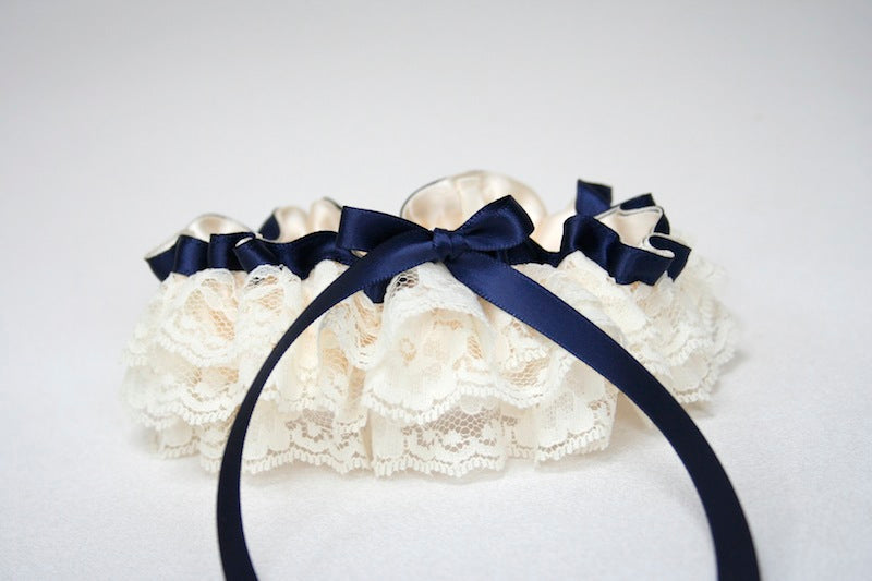 navy blue satin with ivory lace custom wedding garter