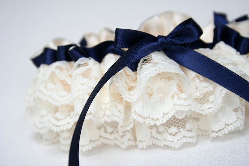 custom wedding garter with ivory and navy blue