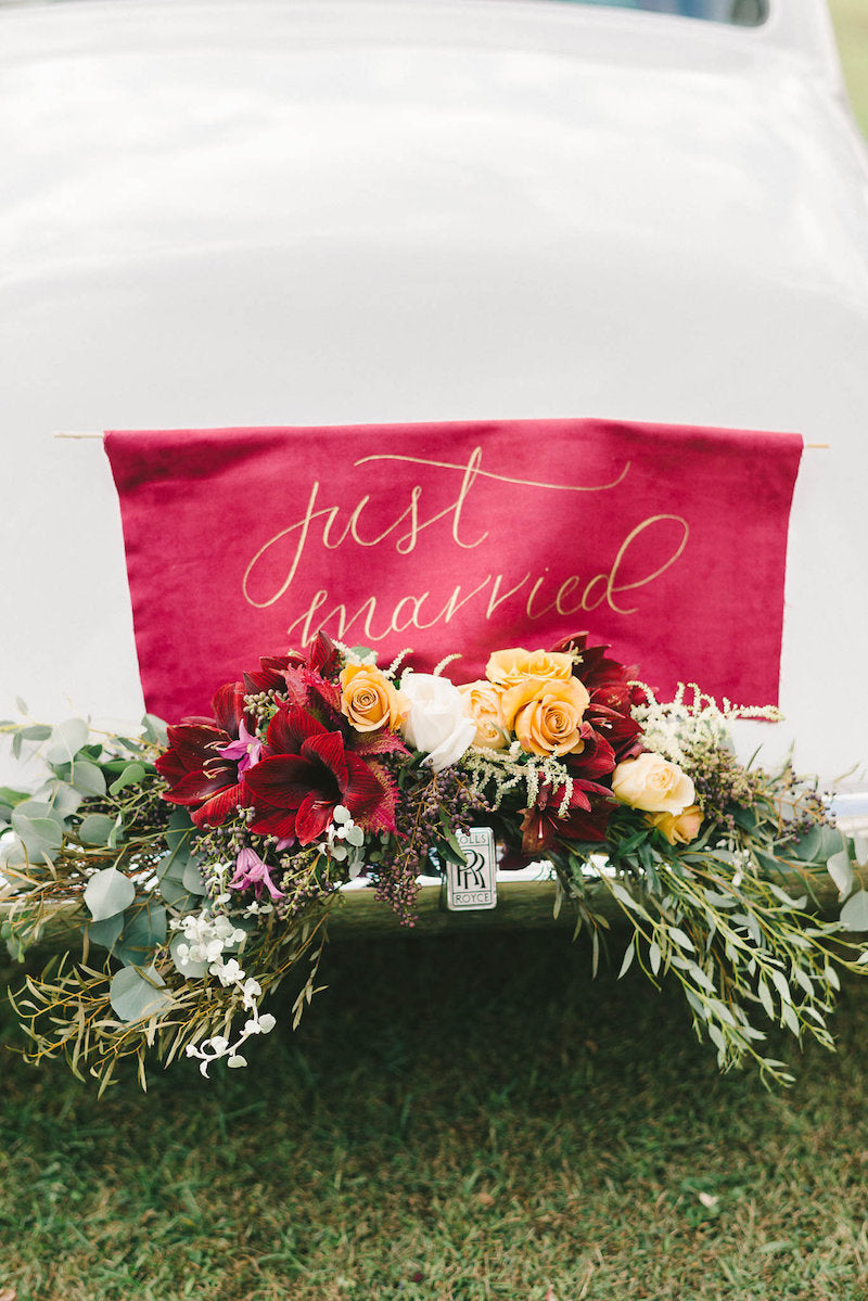 just-married-calligraphy-sign-luxurious-winter-wedding-inspiration-Liz-Fogarty-Photography