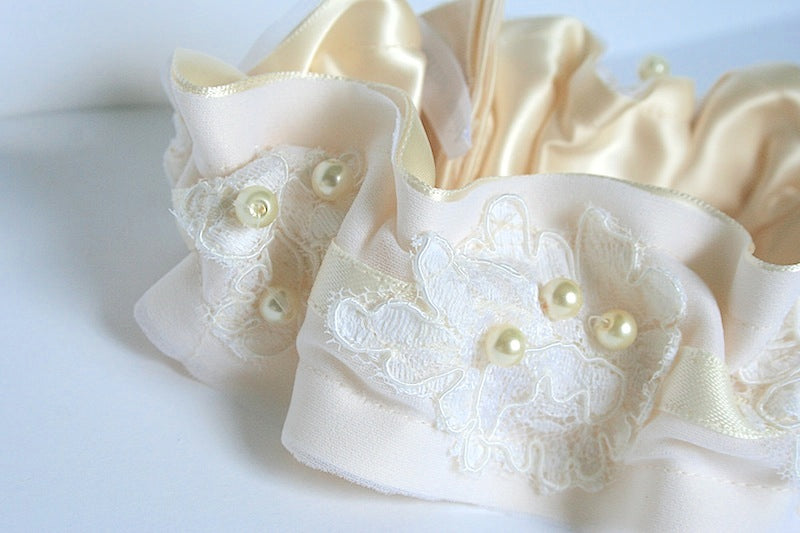 custom ivory and satin wedding garter
