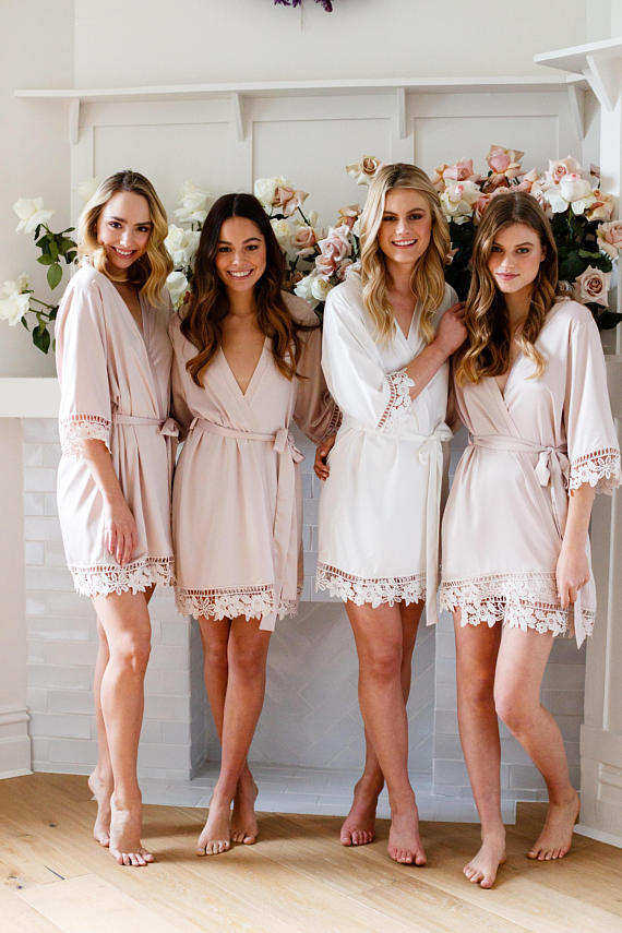 bride and bridesmaids in lace robes
