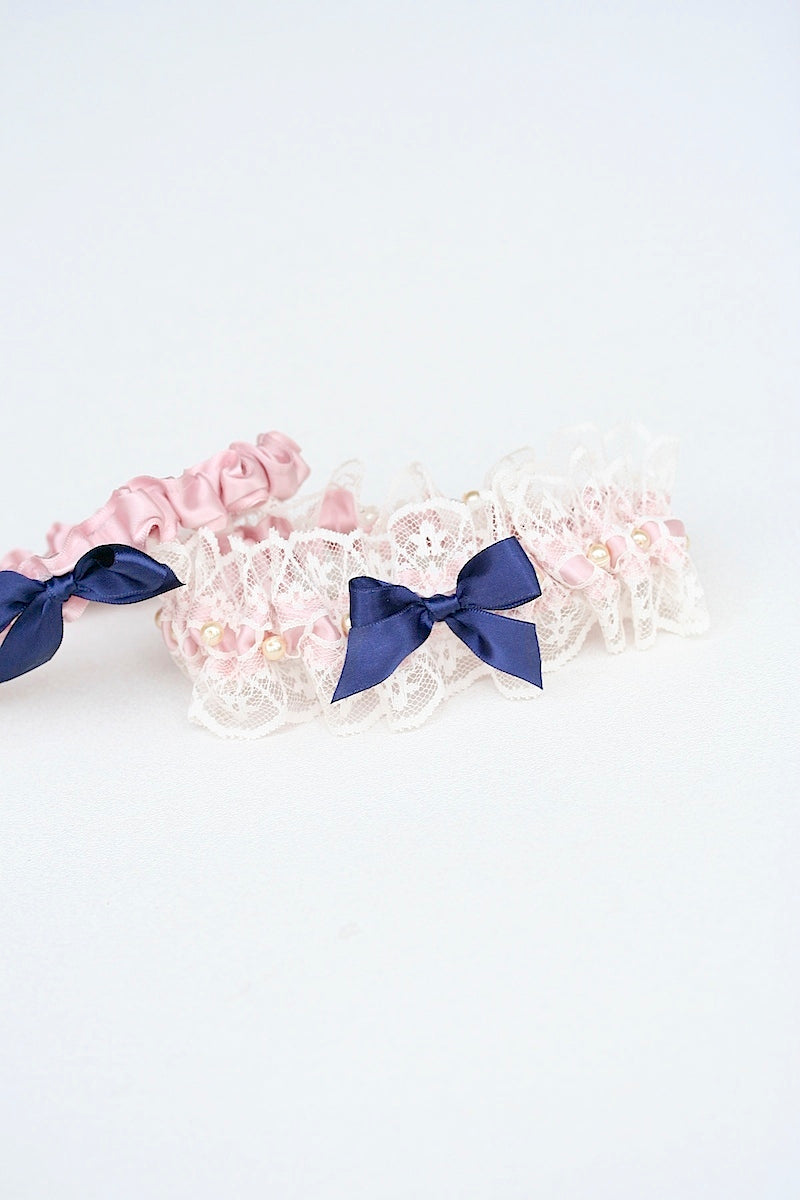 pink blush and lace custom wedding garter set