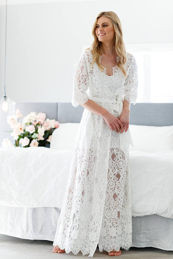 lace floor length robe for bride
