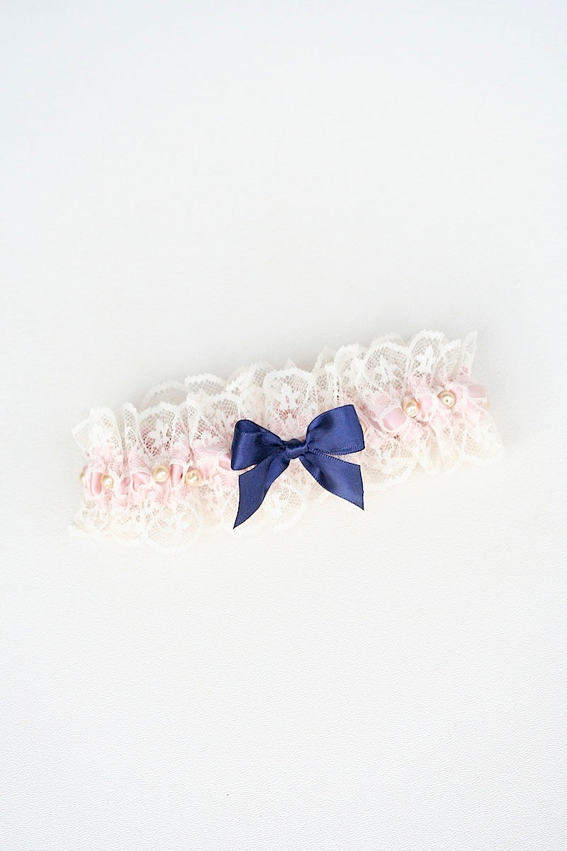 custom wedding garter set with blush and lace