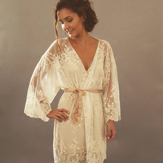 lace robe for bride