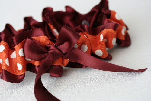 maron-orange-polka-dot-wedding-garter-The-Garter-Girl1