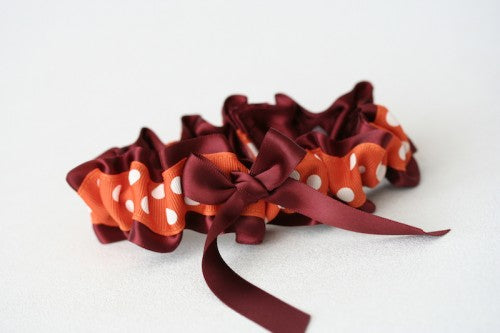 maron-orange-polka-dot-wedding-garter-The-Garter-Girl2