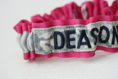 military-name-tape-wedding-garter-hot-pink-gray-The-Garter-Girl-2