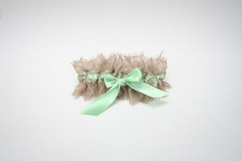 mint and champagne wedding garter