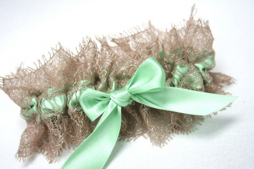 mint satin bridal garter