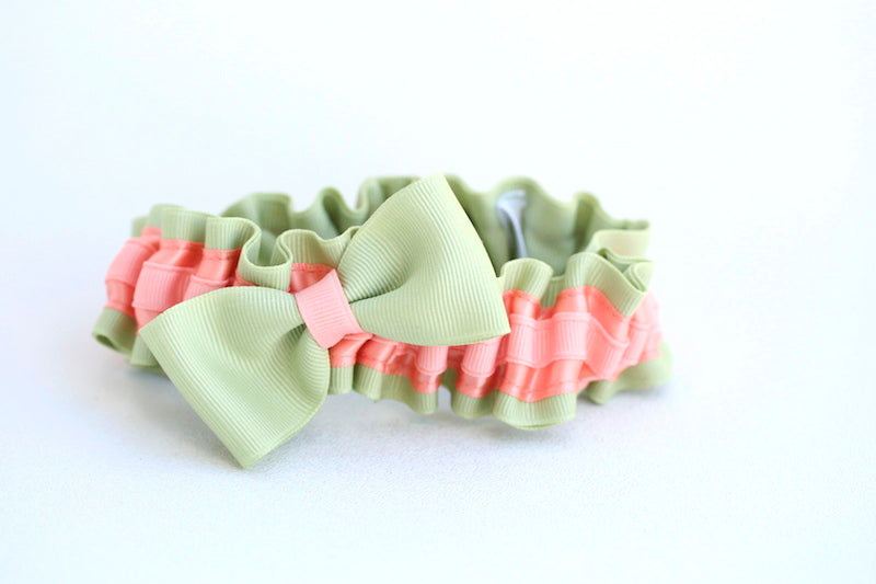 modern-peach-green-wedding-garter-The-Garter-Girl