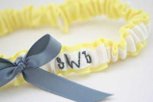 Modern Yellow Hand-Embroidered Custom Wedding Garter