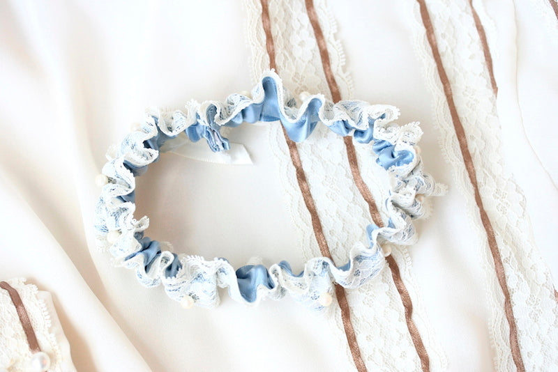lace and something blue heirloom wedding garter