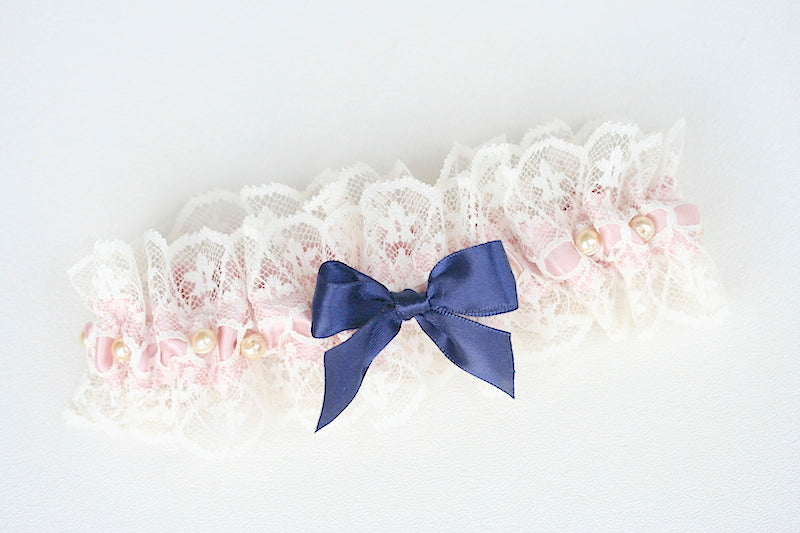 blush and navy blue and pearls and lace custom wedding garter set