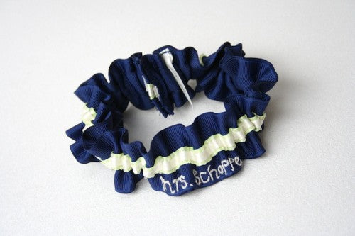 Stylish Navy Blue and Lime Green Embroidered Wedding Garter